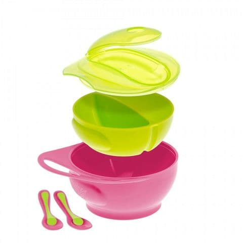Brother Max - Easy Hold Weaning Bowl & Spoon Set with Lid and Divider - Pink